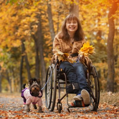 The,Smiling,Cheerful,Girl,On,A,Wheelchair,With,The,Dog
